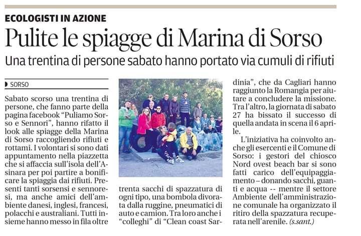 pulizia Marina di Sorso La Nuova Sardegna press