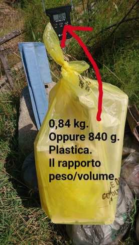 plastica - volume vs peso